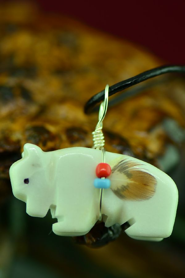 Native American Buffalo Fetish Pendant by DuWayne Turpen