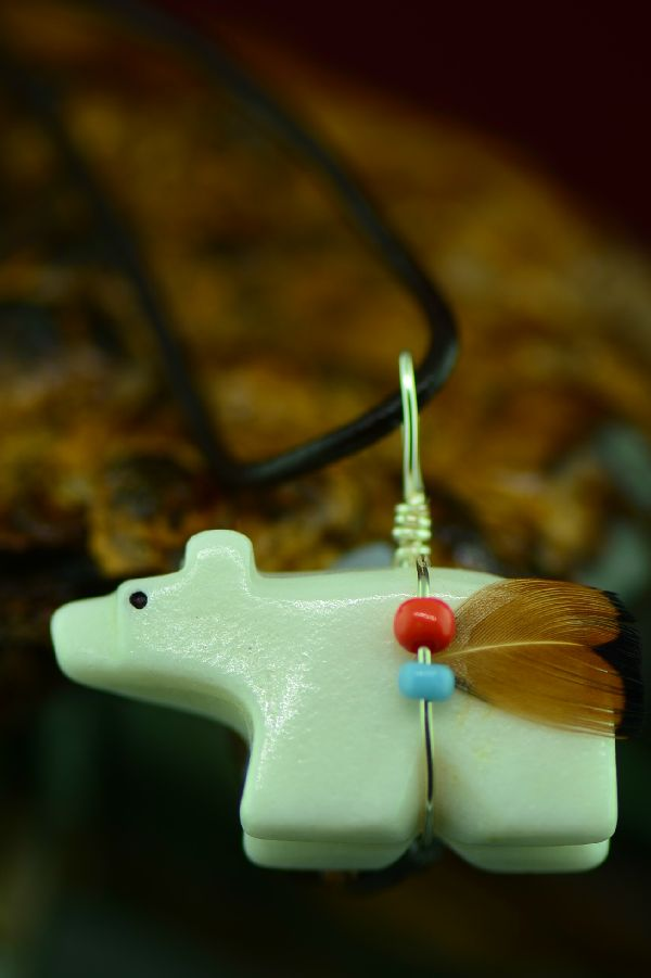 American Indian Bear Fetish Pendant by DuWayne Turpen