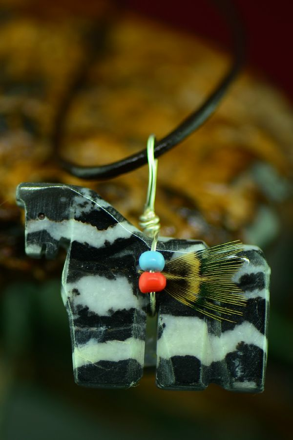 Navajo Hand Carved Zebra Marble Horse Fetish Pendant by DuWayne Turpen