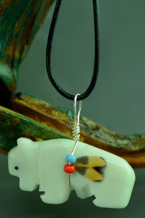 American Indian Buffalo Fetish Pendant by DuWayne Turpen