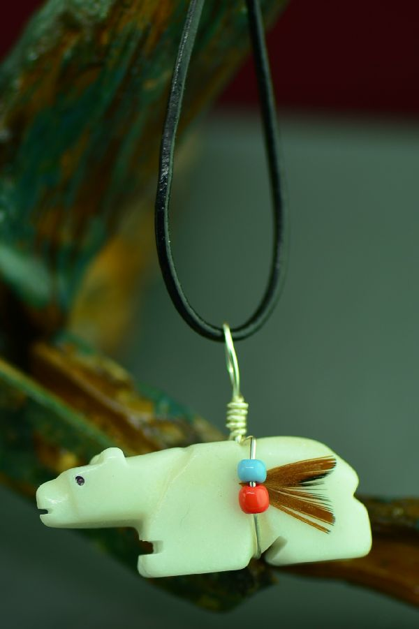 Navajo Hand Carved White Marble Bear Fetish Pendant by DuWayne Turpen