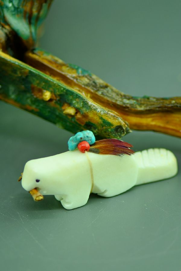 Navajo Hand Carved White Marble Beaver Fetish by DuWayne Turpen