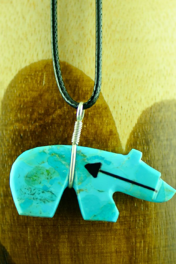 Zuni Turquoise Spirit Line Bear Fetish Pendant by Everett Pino