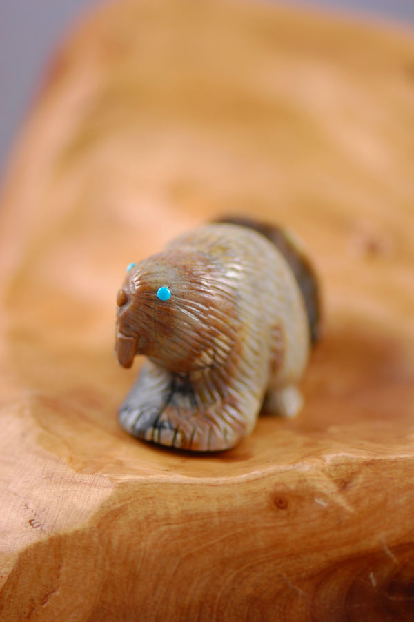 Zuni – Hand Carved Picasso Marble Beaver Fetish by Eric Weeka