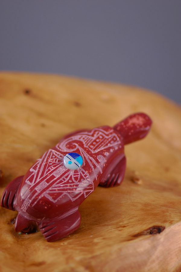 Zuni – Hand Carved Pipestone Turtle Fetish by Michael Laweka