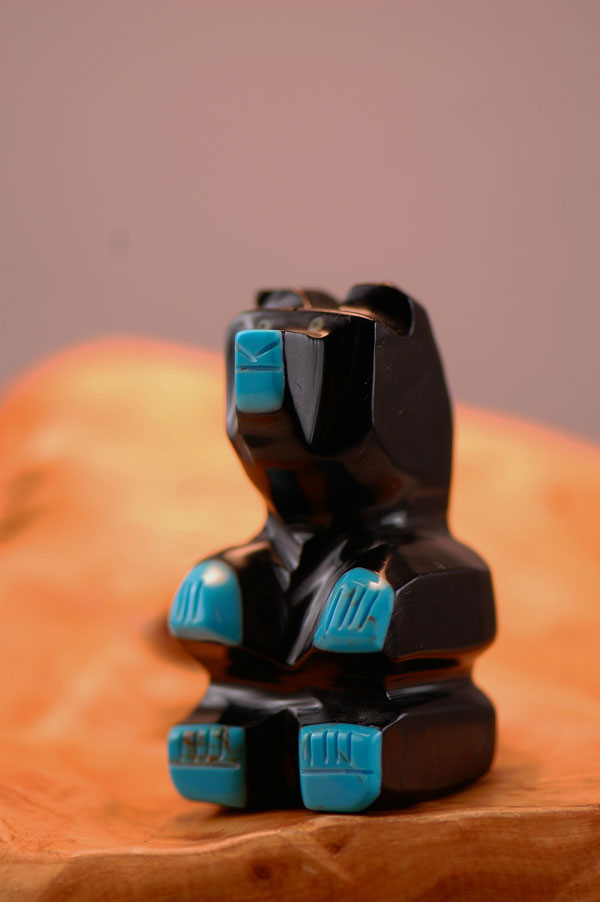 Navajo – Hand Carved Jet Bear Fetish by Florita Mitchell