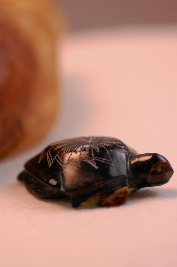 Zuni – Hand Carved Black Marble Etched Turtle Fetish by Adrian and Janadine Cachini