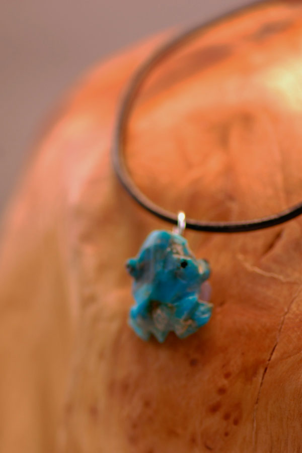 Navajo – Hand Carved Turquoise Frog Fetish Necklace by Christopher McCabe
