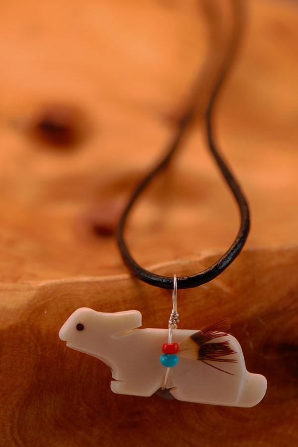Navajo � Hand Carved White Marble Rabbit Fetish Pendant by DuWayne Turpen