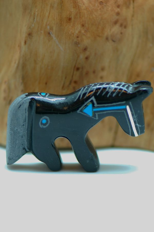 Zuni – Hand Carved Black Marble Horse Fetish by Russell Shack