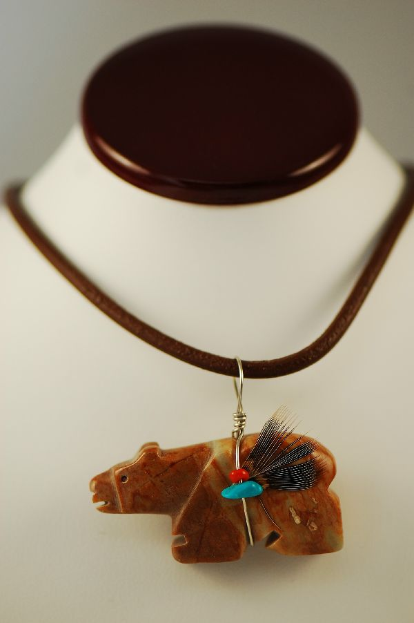 Navajo � Hand Carved Picasso Marble Bear Fetish Pendant by DuWayne Turpen