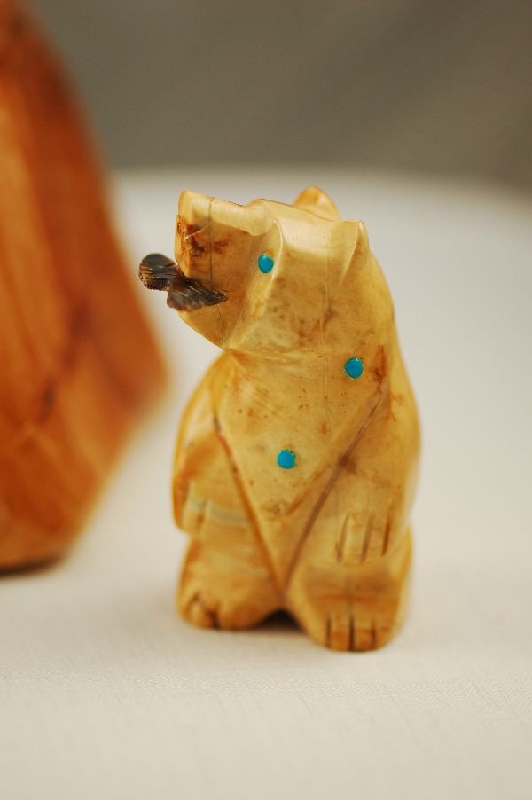 Zuni – Hand Carved Picasso Marble Bear Fetish by Joanna Cheama