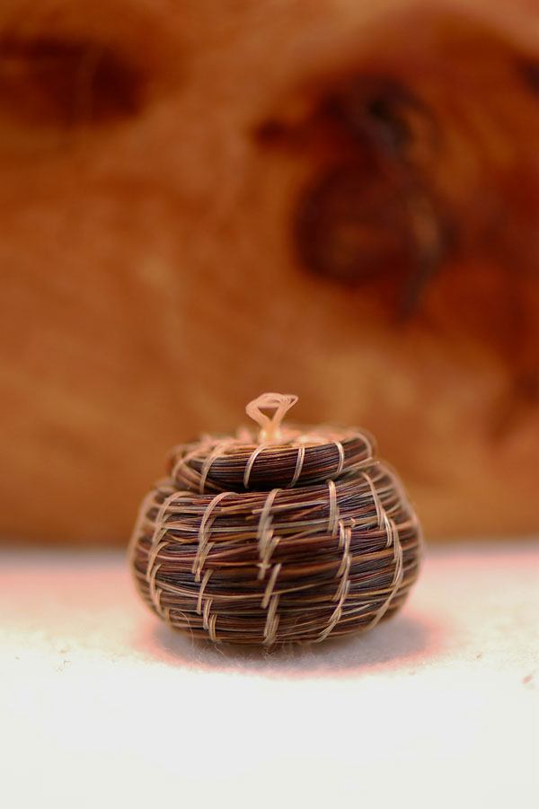 Tohono O'Odham Horsehair Basket with Removable Lid