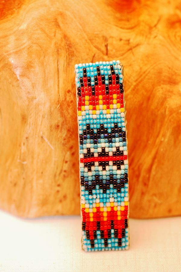 Navajo – Multi-Colored Beaded Hair Piece/Barrette by Mary Saunders