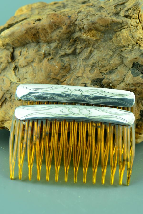Navajo – Hand Stamped Sterling Silver Combs
