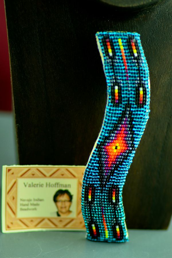 Navajo Multi-Colored Prayer Feather Beaded Hair Piece/Barrette by Valerie Hoffman