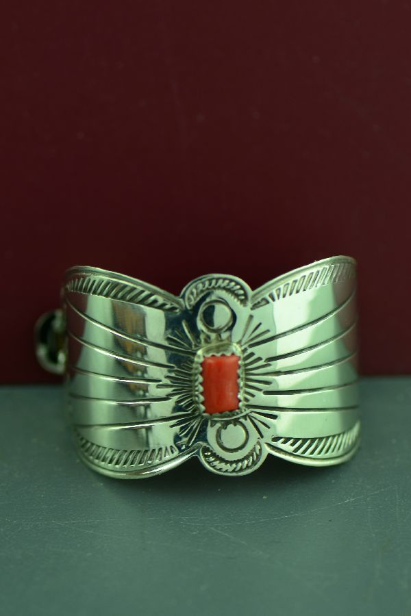 Navajo Sterling Silver Mediterranean Coral Ponytail Holder by JoAnn Silver