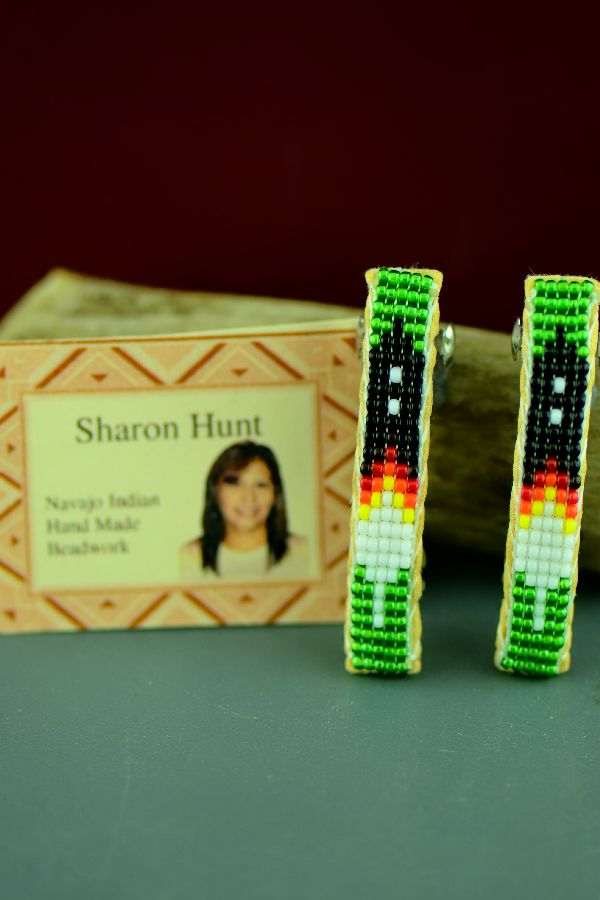 Navajo Multi-Colored Beaded Traditional Prayer Feather Hair Piece/Barrette (Pair) by Sharon Hunt