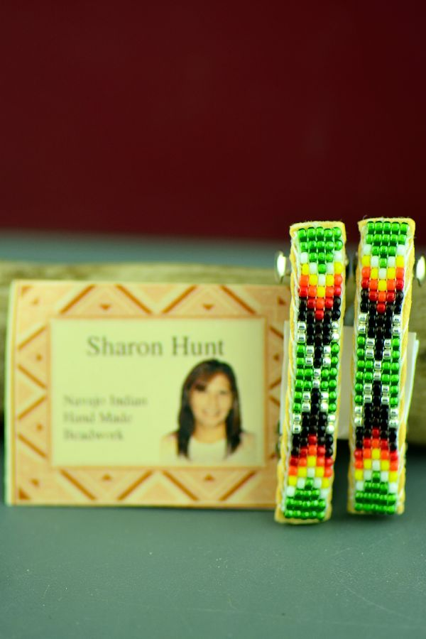 Navajo Multi-Colored Beaded Traditional Hair Piece/Barrette (Pair) by Sharon Hunt