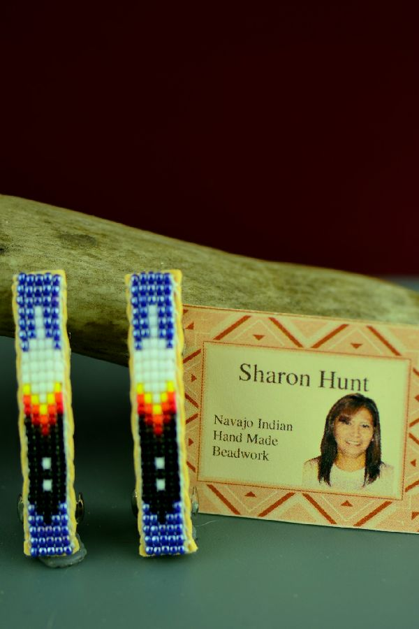 Navajo Multi-Colored Beaded Prayer Feather Hair Piece/Barrette (Pair) by Sharon Hunt