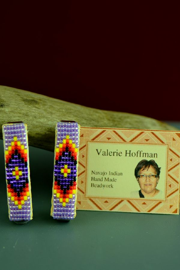 Navajo Multi-Colored Beaded Traditional Hair Piece/Barrette (Pair) by Valerie Hoffman