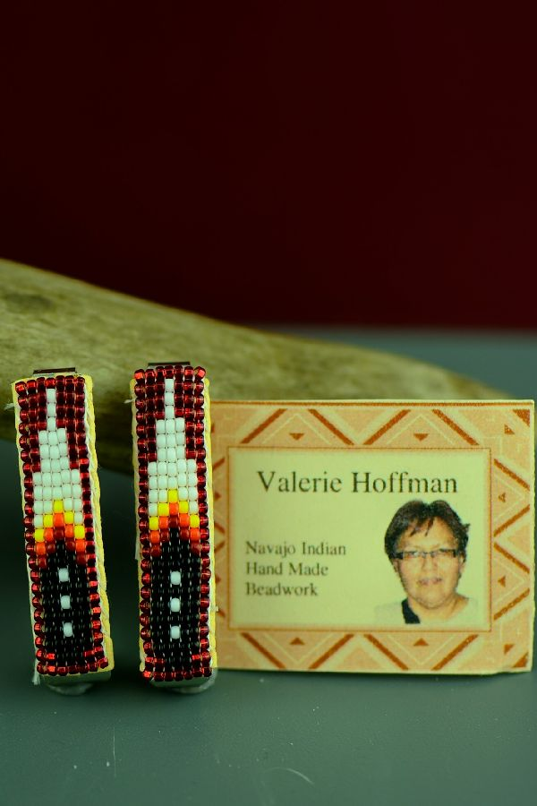 Navajo Beaded Prayer Feather Hair Piece-Barrette (Pair) by Valerie Hoffman