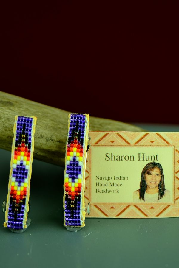 Navajo Beaded Traditional Hair Piece/Barrette (Pair) by Sharon Hunt