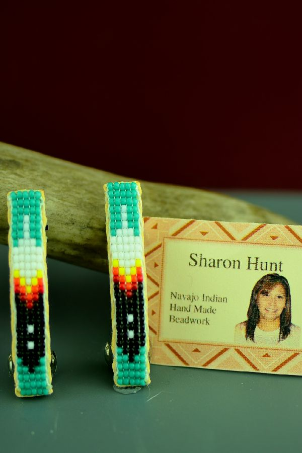 Navajo Beaded Prayer Feather Hair Piece/Barrette (Pair) by Sharon Hunt