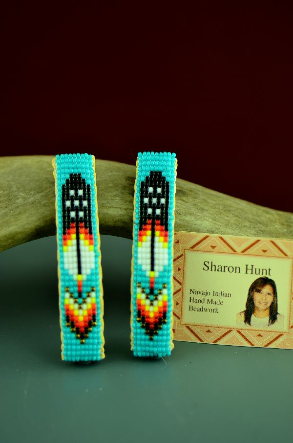 Navajo Beaded Prayer Feather and Arrow Hair Piece/Barrette (Pair) by Sharon Hunt