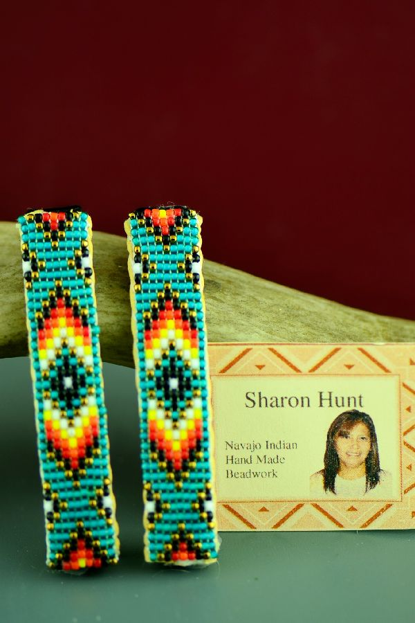 Navajo Multi-Colored Beaded Arrow and Medicine Eye Hair Piece/Barrette (Pair) by Sharon Hunt