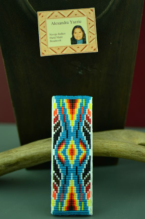Navajo Multi-Colored Beaded Hair Piece/Barrette by Alexandra Yazzie
