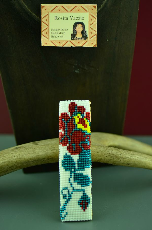Navajo Beaded Rose Hair Piece/Barrette by Rosita Yazzie