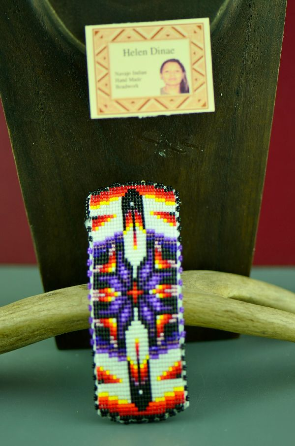 Navajo Prayer Feather Beaded Pony Tail Holder/Barrette by Helen Dinae