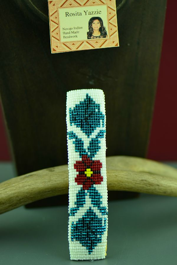 Navajo Multi-Colored Beaded Rose Barrette by Rosita Yazzie