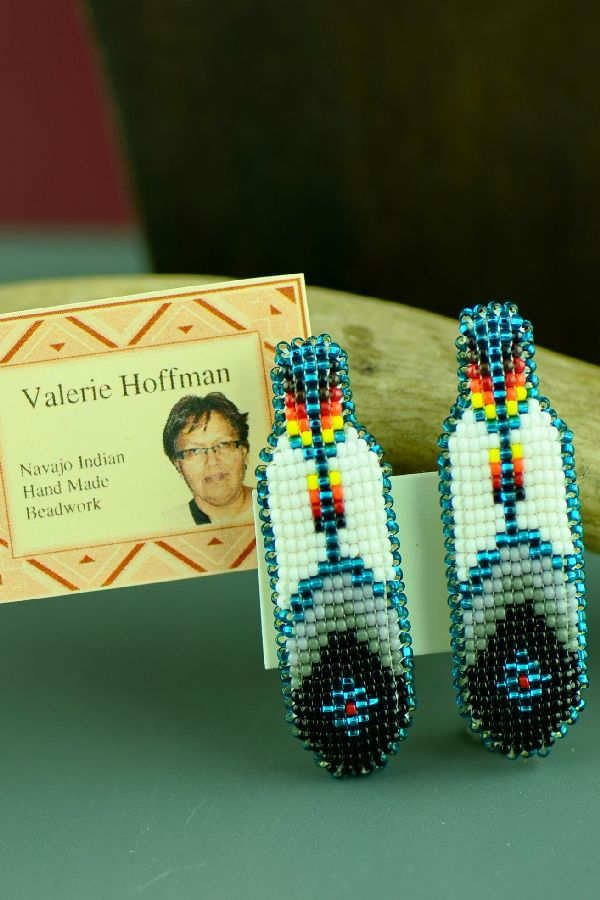 Navajo Multi-Colored Beaded Prayer Feather Barrettes (Pair) by Valerie Hoffman