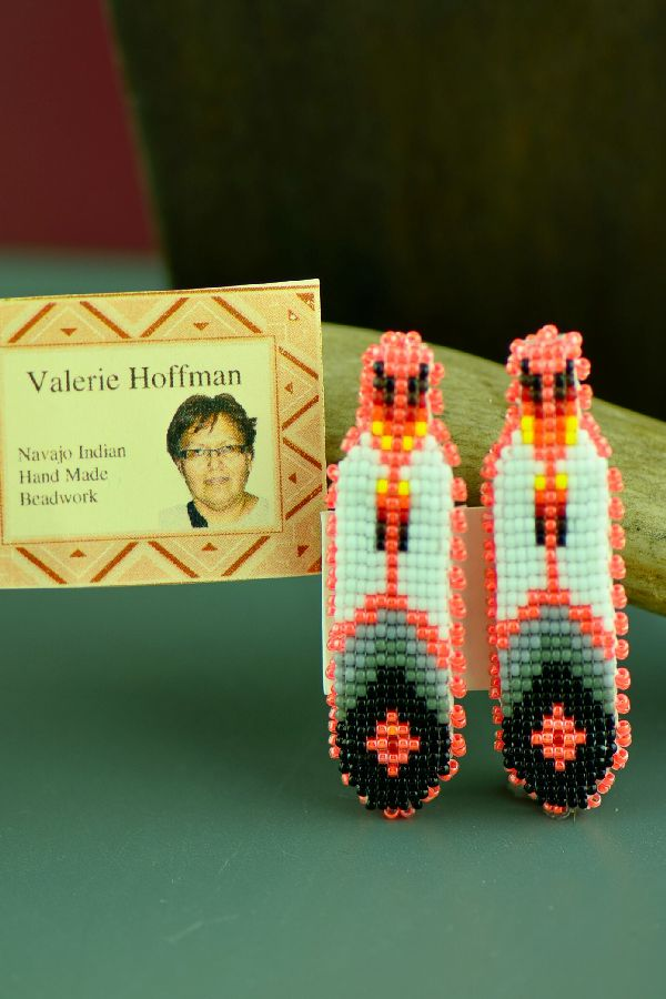 Navajo Multi-Colored Beaded Prayer Feather Barrettes by Valerie Hoffman