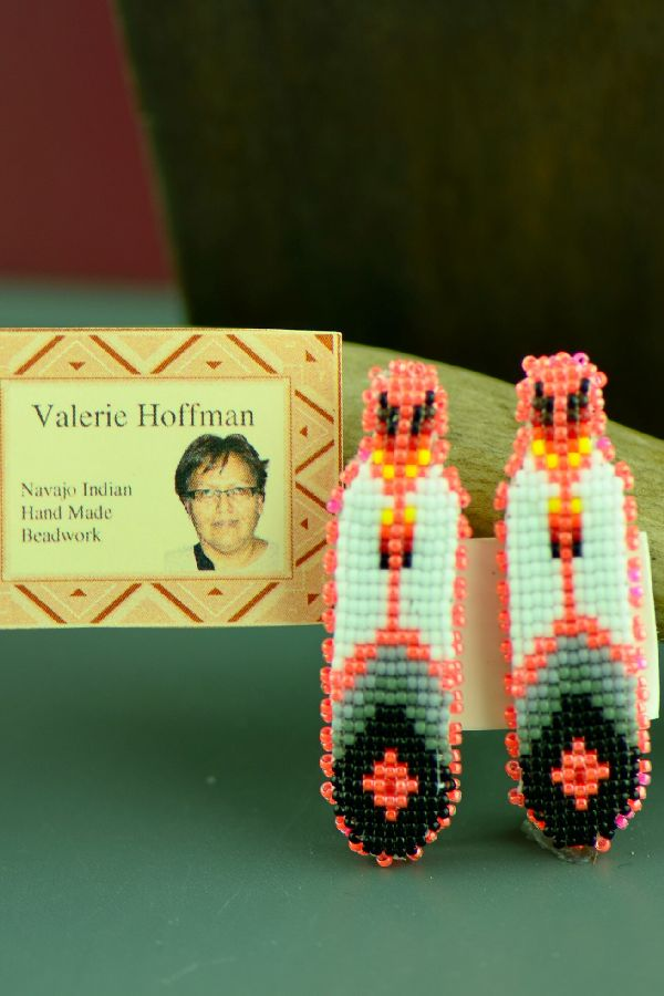 Valerie Hoffman Navajo Multi-Colored Beaded Prayer Feather Barrettes (Pair)