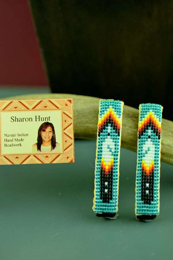 Navajo Multi-Colored Beaded Prayer Feather Barrettes by Sharon Hunt