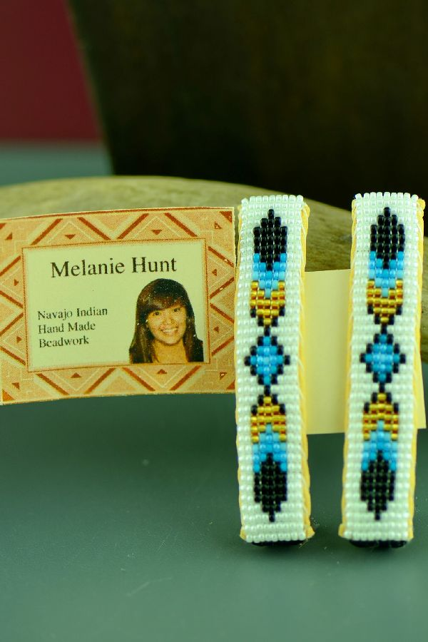 Native American Beaded Prayer Feather Barrettes by Melanie Hunt