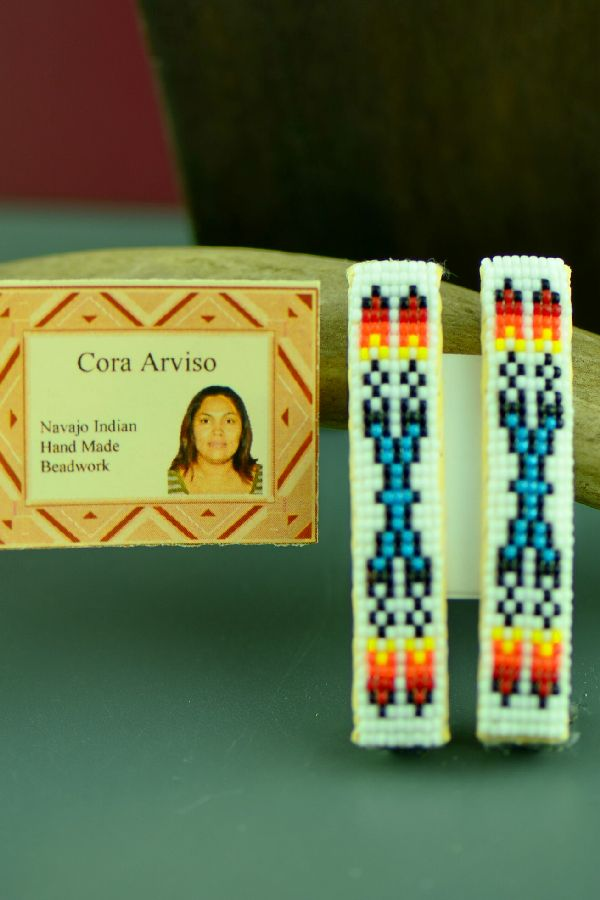 Navajo Multi-Colored Beaded Prayer Feather Barrettes by Cora Arviso