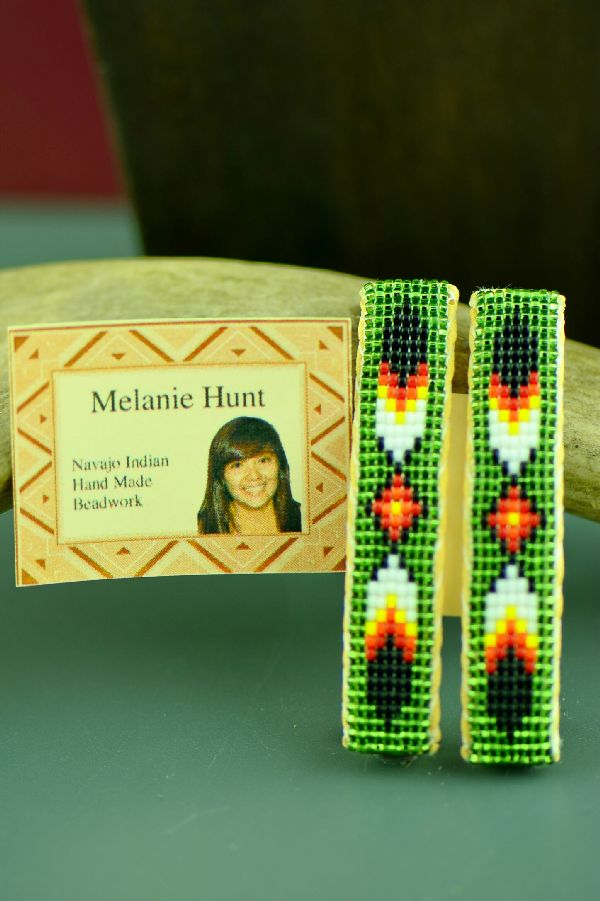 Navajo Multi-Colored Beaded Prayer Feather Barrettes (Pair) by Melanie Hunt