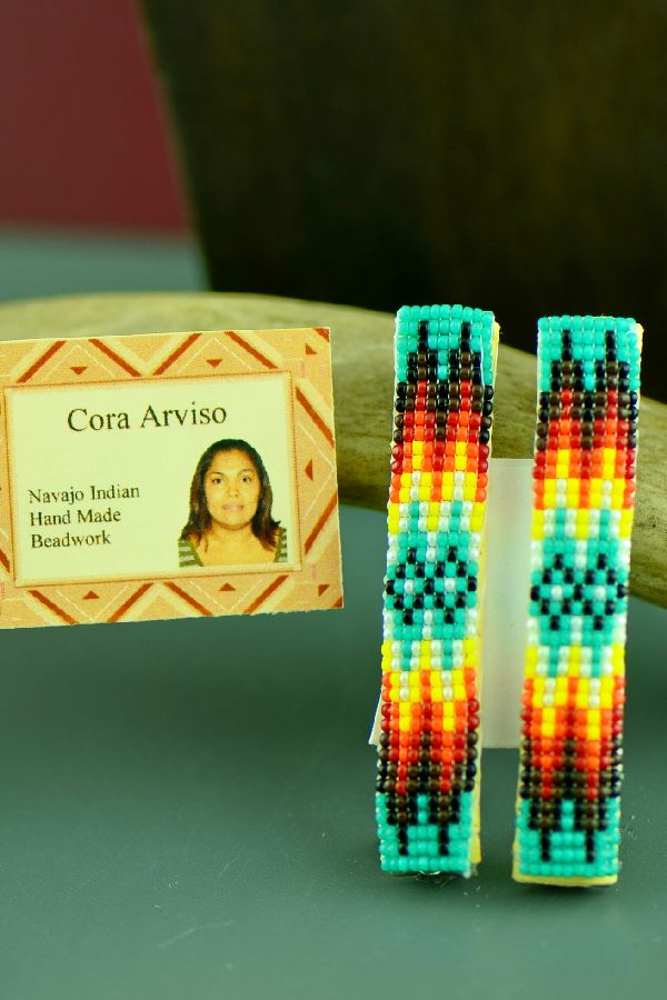 Navajo Colorful Beaded Barrettes (Pair) by Cora Arviso