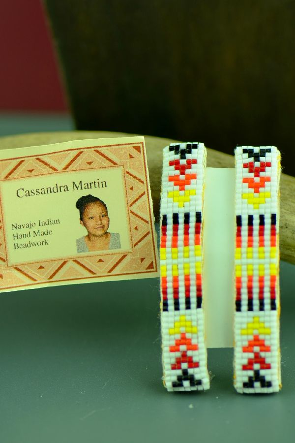 Navajo Multi-Colored Beaded Barrettes (Pair) by Cassandra Martin