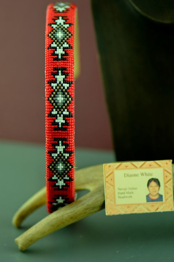Navajo Traditional Beaded Head Band by Dianne White