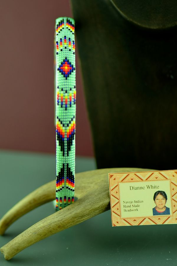Dianne White Navajo Beaded Prayer Feather Head Band