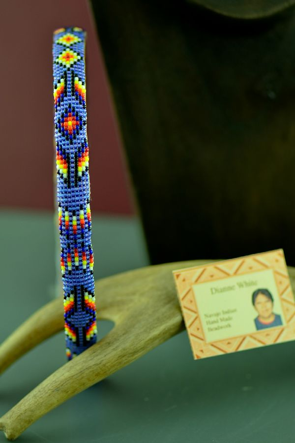 Navajo Traditional Multi-Colored Beaded Prayer Feather Head Band by Dianne White