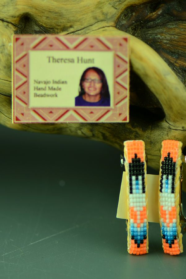 Navajo Beaded Prayer Feather Barrettes (Pair) by Theresa Hunt