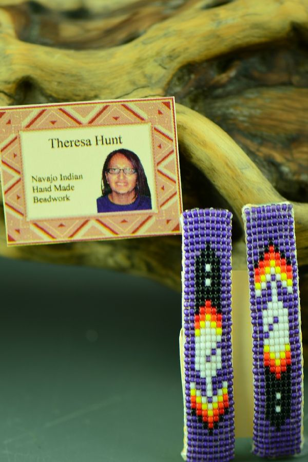 American Indian Beaded Prayer Feather Barrettes by Theresa Hunt