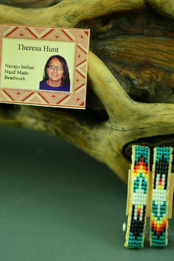 Navajo Beaded Prayer Feather Barrettes by Theresa Hunt