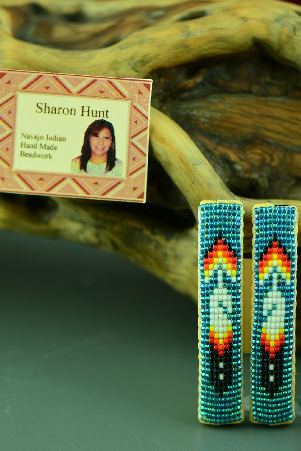 American Indian Beaded Prayer Feather Barrettes by Sharon Hunt